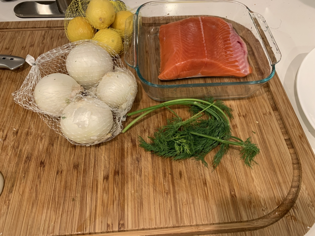 onions lemons raw salmon and dill make a delicious dinner