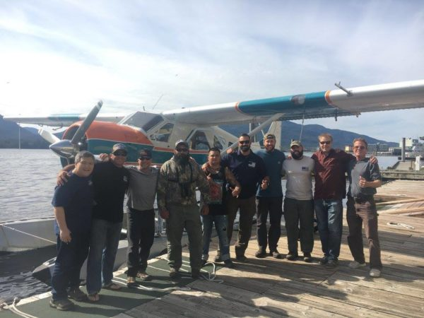group of people getting on float plane in Alaska